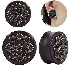 Vintage Earrings for Women, Staron 1 PC Mandala Earring Stud Black Wood Tunnel Ear Plug Elegant Retro Eardrop (10mm❤️)