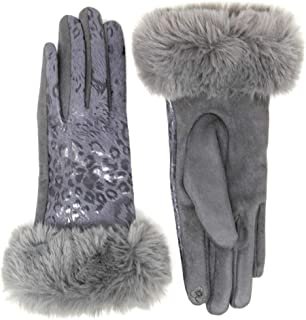 Me Plus Women Fashion Winter Elegant Animal Leopard Print Faux Fur Trim Touchscreen Gloves