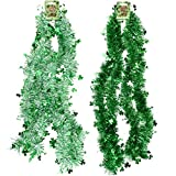 4 9' St. Patrick's Day Tinsel Garland with Shamrocks Total of 36 Feet 2 Assorted Designs for Irish Party Supplies Decorations Metallic Clover Leaf Green Shamrock Outdoor Accessories by Gift Boutique