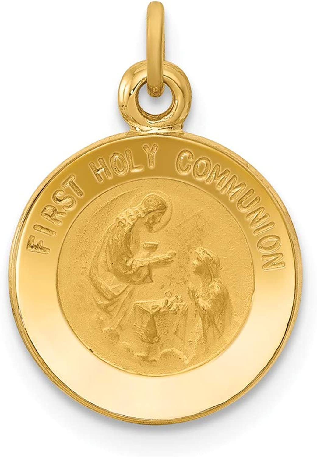 14k Yellow gold First Communion Medal Pendant