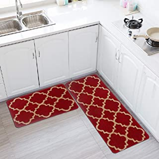 HEBE Kitchen Rug Set of 2 Pieces Non Slip Machine Washable Kitchen Rugs and Mats Set Kitchen Mat Rug Runner Set Indoor Outdoor Entry Rug Floor Carpet Red(18