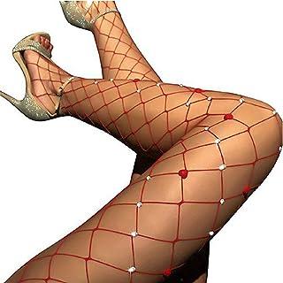 ANDIBEIQI Calze per reggicalze Sexy Donna Maglia Calze a rete Bodystocking Netto Reggicalze Calze Collants con diamante