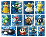 Super Mario Brothers 12 Piece Holiday Christmas Ornament Set Featuring Mario, Luigi, Yoshi, Bullet...