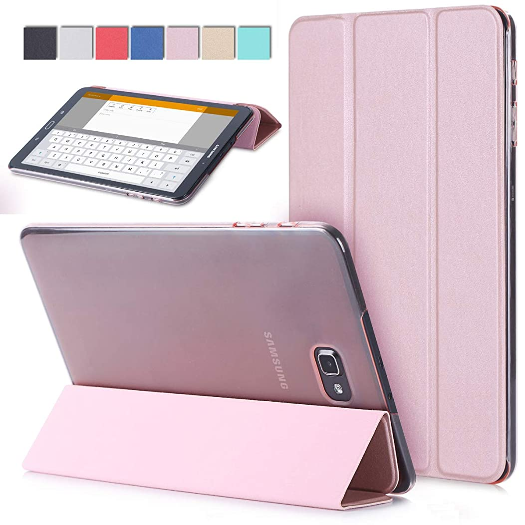 Samsung Galaxy Tab A 10.1 Case - Ultra Slim Lightweight Stand Case with Translucent Frosted Back Smart Cover for Galaxy Tab A 10.1 Inch Tablet SM-(T580/T585),with Auto Sleep/Wake (Rose Gold)