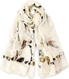 Women's Silk Scarves Animal Print Scarf Leopard Peacock Dragonfly Long Shawl Warm Wrap Sunscreen Shawl All Season