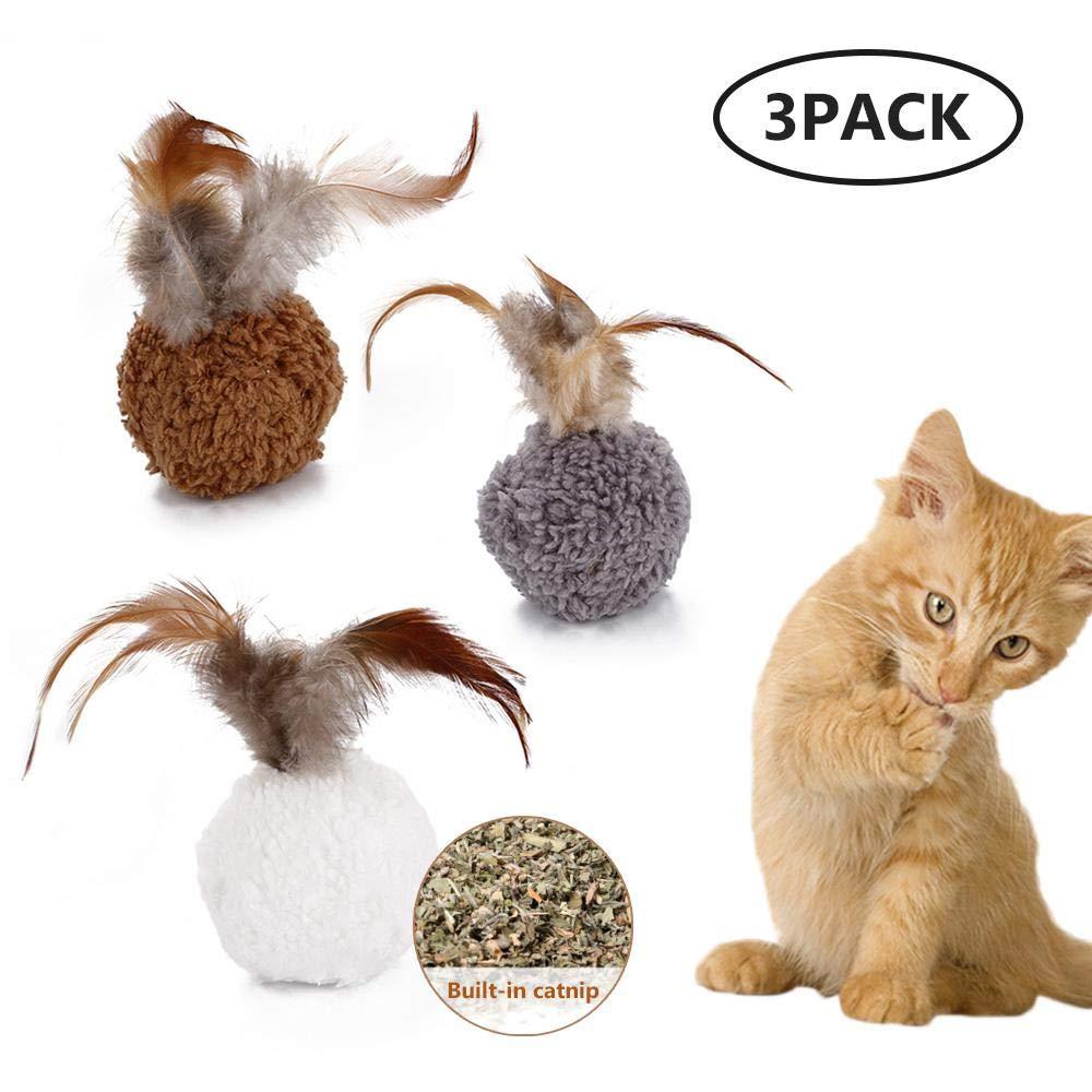 MOGOI Pelota interactiva para Gatos con Plumas, 3 Bolas de Felpa ...