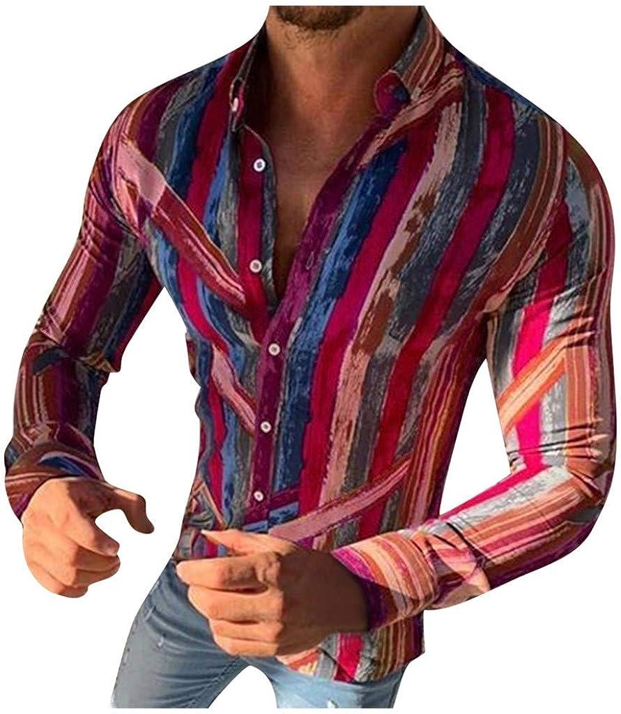 YAYUMI Men's Striped Shirt Fashion Creative Slim Abstract Printing Long Sleeve Button Lapel Top Autumn Casual Jacket