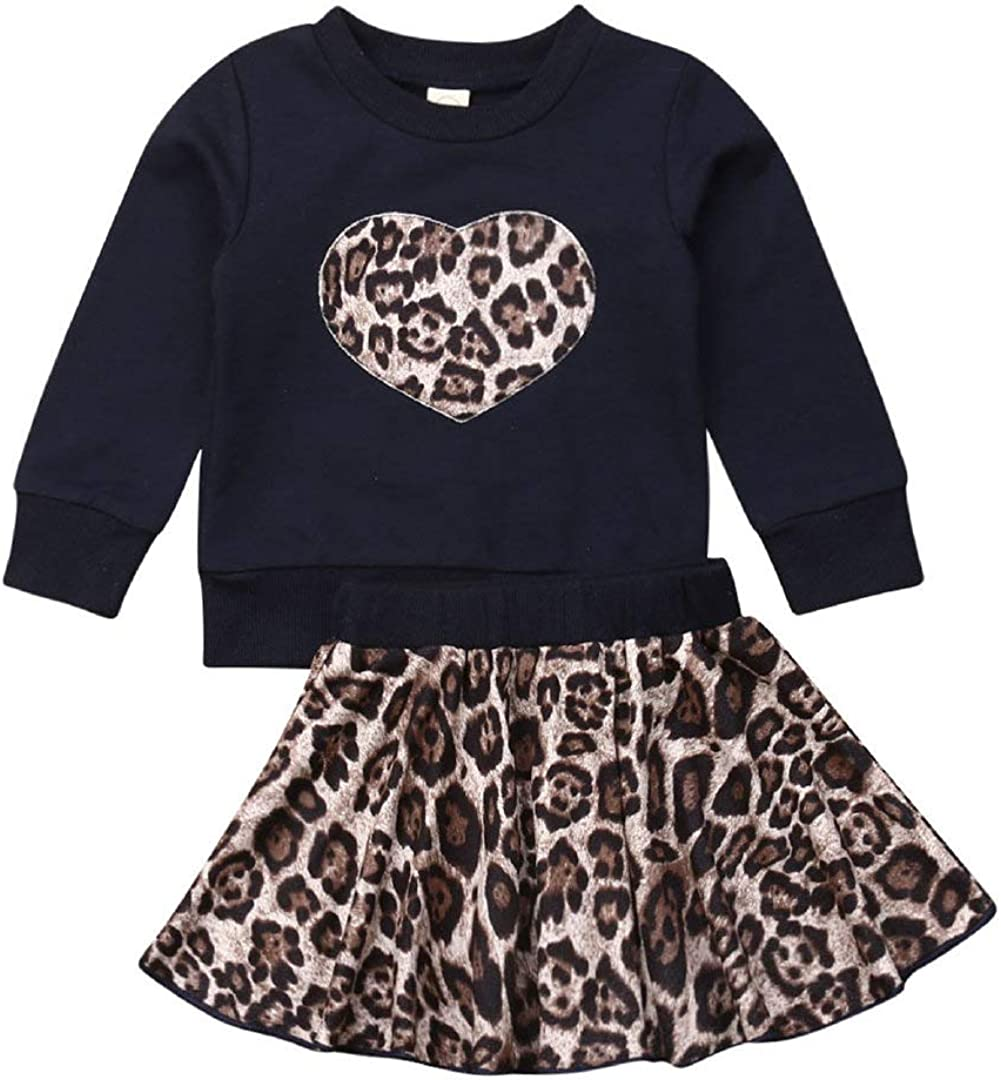 Toddler Baby Girl Leopard Skirt Outfits Black Long Sleeve Sweats