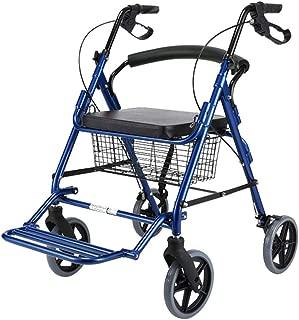 Multi-Functional Wheelchair, Elderly Trolley Lightweight Folding Trolley Four-Wheeled Trolley Size 92 * 61 * 90CM (Color : Blue, Size : 92 * 61 * 90CM)
