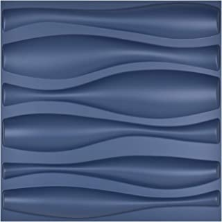 Art3d Navy Blue PVC 3D Wall Panel Large Wave Style Cover 32 Sqft, for Interior Wall Décor in Living Room,Bedroom,Lobby,Office,Shopping Mall