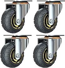 Kit de 4 roues universelles de 3 pouces sans freins Roues de chariot silencieux Roues universelles oulettes Pivotantes 75m...