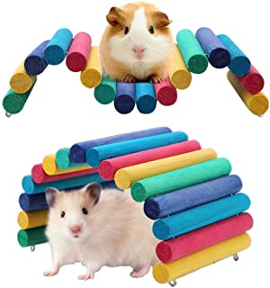 PIVBY Wooden Hamster Ladder Bridge Small Animal Chew Toy Mouse Rat Rodents Hideout Toy(Pack of 2)