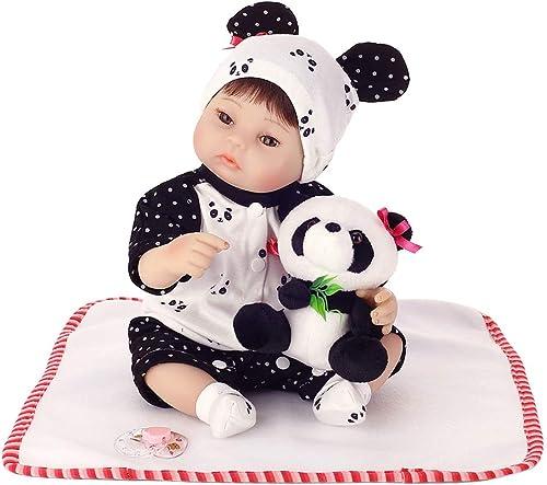 grandes precios de descuento Qiuxiaoaa Silicon Realista Panda Ropa Sombrero Infancia Temprana Niños Niños Niños Lindos Juguetes 40cm Reborn s  Para tu estilo de juego a los precios más baratos.