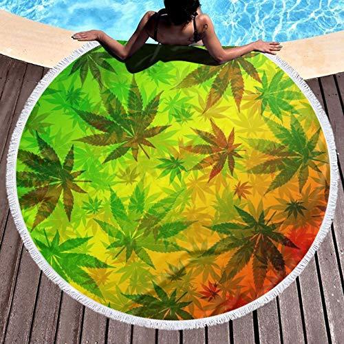 Toalla de playa redonda con diseño de hojas de marihuana y hojas de rasta impresas, para yoga, picnic, mantel redondo, ultra suave, súper absorbente de agua, toalla de rizo con borlas