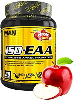 Man Sports Iso EAA. Apple Juice Flavored Hydration Electrolyte Powder with BCAA Amino Acids for Muscle Recovery, Endurance...