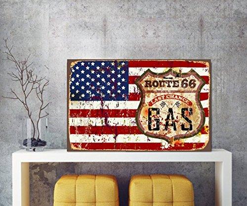 Fhdang Decor Signer au gaz, dernière Chance, Route 66 Sign, Plaque en métal, USA Drapeau USA Plaque en métal, Panneau, 20,3 x 30,5 cm