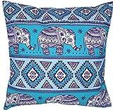 Goodforgoods Pack 2 Fundas de Cojines para Sofa, Cama con diseño de Elefantes hindúes (Rosa y Azul) Medidas 45x45 cm. (Rosa)