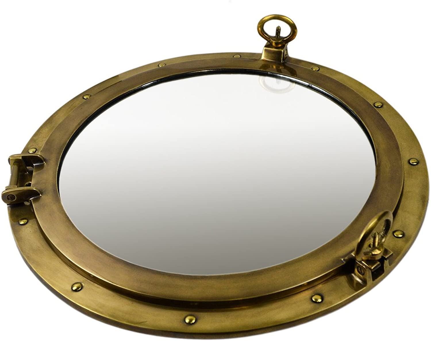 20 Dia Antique Brass Finish over Solid Brass Wall Mount Porthole Mirror