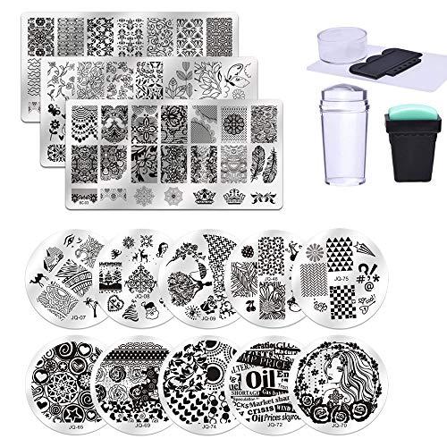 Biutee 13 pcs Nail Art Stamping Piatti+1 Silicone Trasparente Stamper kit+1 1 Silicone nero Stamper kit