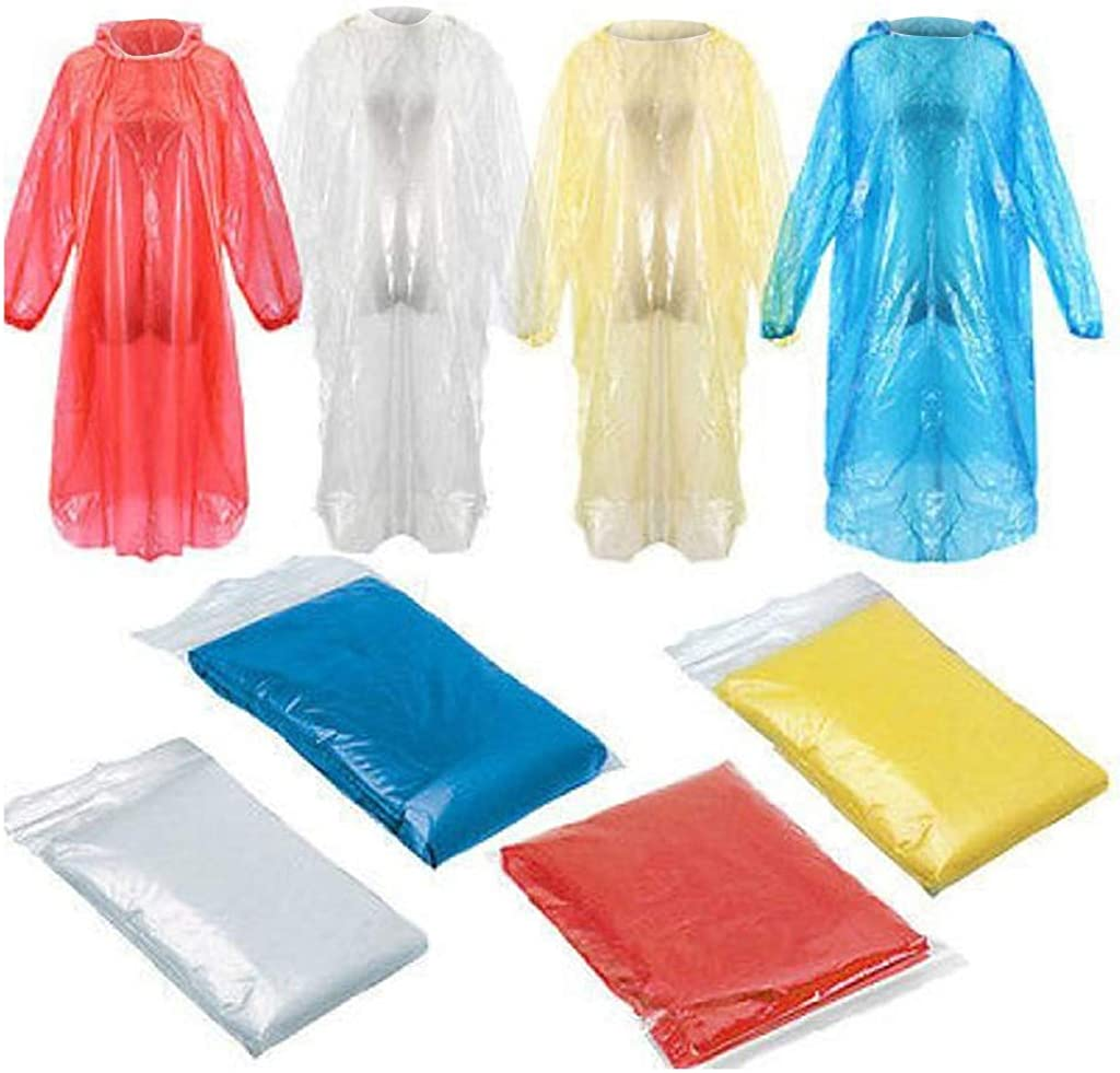 100PCS Large special price Disposable Fort Worth Mall Raincoats with Hood - Waterproof for Adults Em