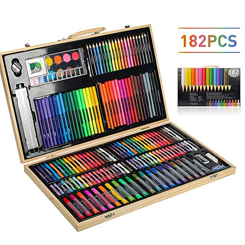 MIAOKE 182 Pieces Art Set, Paint Box for Children, Wooden Art Box with Colored Pencils, Watercolor Brushes, Markers, Crayons, Oil pastels, Watercolor Cake, HB pencil, Pencil Sharpener, Sketch Pad