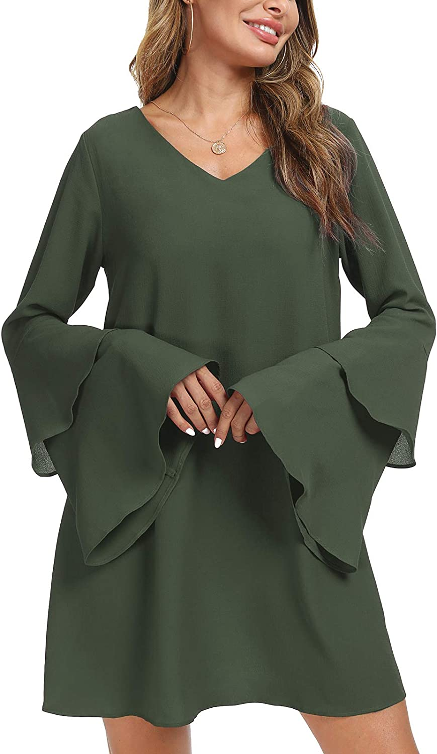 MopeMope Women Casual V Neck Layered Bell Sleeve Party Loose Shift Mini Dresses