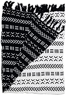 Snugtown 100% Cotton Cable Knitted Double Layer Warm Cozy Throw Blanket for Couch Chairs Bed Beach,Home Decorative Blanket Throw with Fringed Trim, Black and White, 45 x 60 Inches