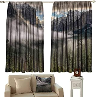 Country Decor Collection Fresh Curtains Sun Peaks Over The Sierras for Its First Glimpse of The Yosemite Valley in a Misty Morning Suitable for Bedroom Living Room Study, etc.55 Wx63 L Green
