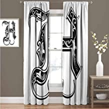 GUUVOR Letter H Shading Insulated Curtain Majuscule H with Rococo Influences Ancient Literature Language Theme Monochrome Soundproof Shade Curtain 52