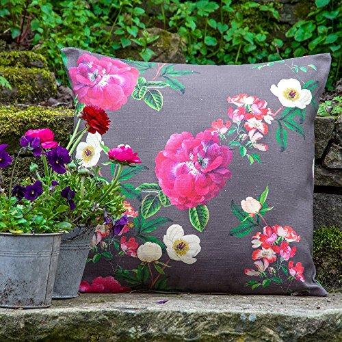 Izabela Peters Designer Étanche Extérieur Jardin Coussin - Floral Glade - Moucheron Banque Jardin Collection - dessiné imprimé& Fait Main Au R-U - Graphite, Lot de 2-40 x 40cm