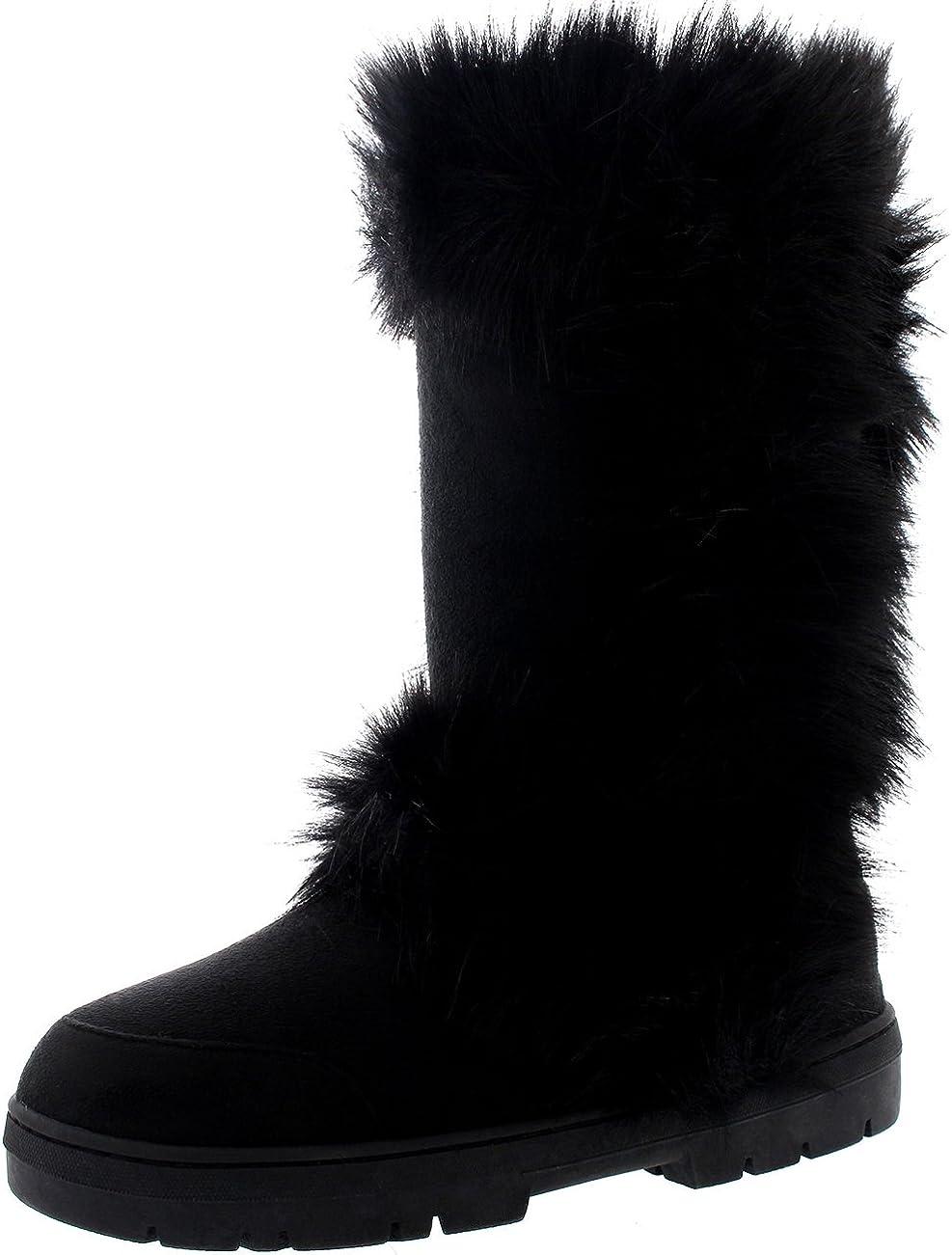 Womens Mid Calf Hard Sole Waterproof Winter Boots