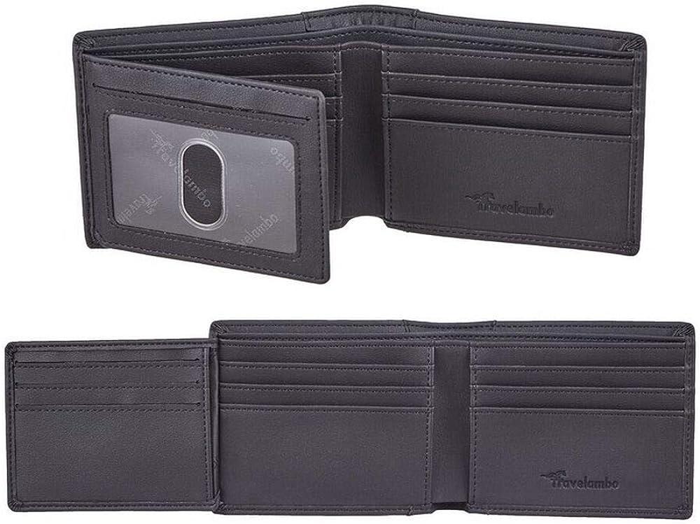 Travelambo Genuine Leather RFID Blocking Wallets Mens Wallet Bifold Left ID
