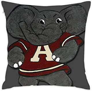 Decorative Cotton Square Throw Pillow Cases Protectors Cushion Covers for Sofa,45 cm - Alabama Roll Tide Elephant Mascot