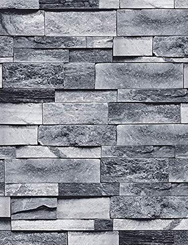 ConCus-T Grey Brick Wallpaper Self Adhesive Contact Paper Waterproof Kitchen Bathroom Bedroom Wallpapers Peel and Stick 3D Slate Stone Brick Effect Paste The Paper 45cm×10m