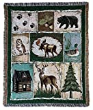 Moose Bear Lodge Woven Tapestry Throw Blanket with Fringe 50 X 60 Inches
