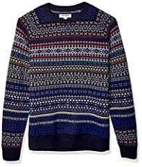 Made from 100% Lambswool yarn- this breathable, warm sweater is made with the same yarn used in our solid colors but with fairisle patternwork for the winter season Classic crewneck with raglan sleeves, self-rib at neck opening, cuffs, and waist