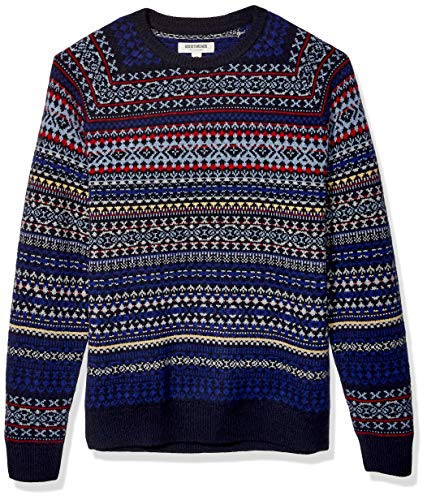 Amazon Brand - Goodthreads Men's Lambswool Stripe Crewneck Sweater, Multi Geo Fair Isle Large