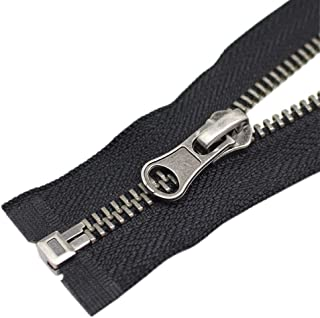 YaHoGa 2PCS #5 26 Inch Antique Silver Separating Jacket Zipper Y-Teeth Gunmetal Metal Zippers for Jackets Sewing Coats Cra...