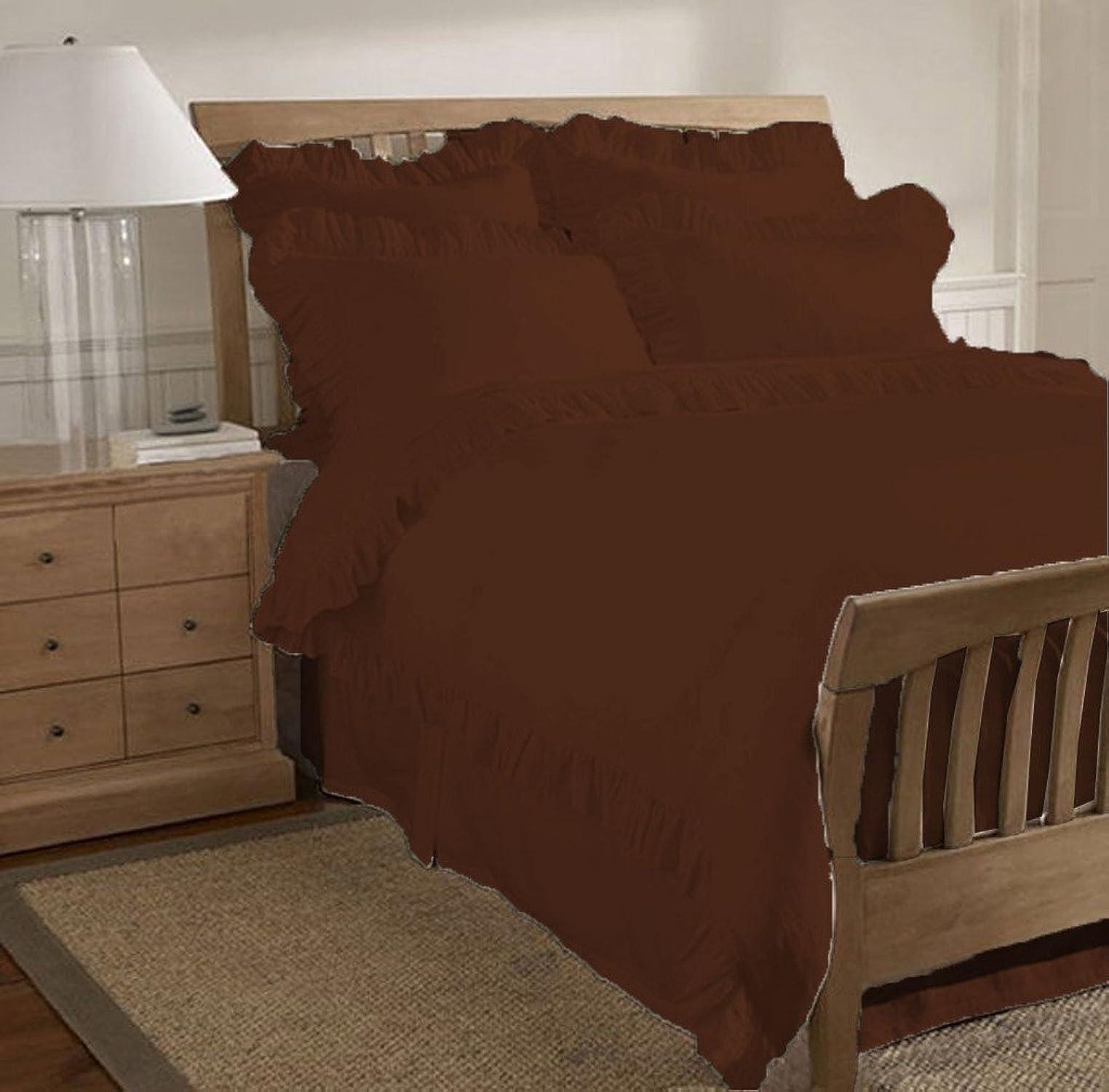 SCALABEDDING 500TC coton égypcravaten 1pièce Solid Edge volants Housse de couette King Chocolat
