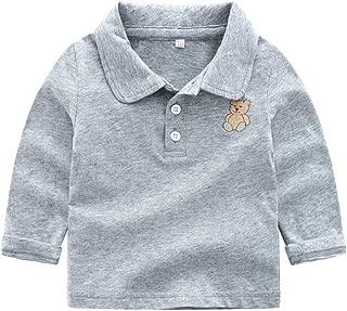 Mornyray Newborn Unisex Baby Long Sleeve Tops Solid Color Cotton Cartoon Bear Print Shirt