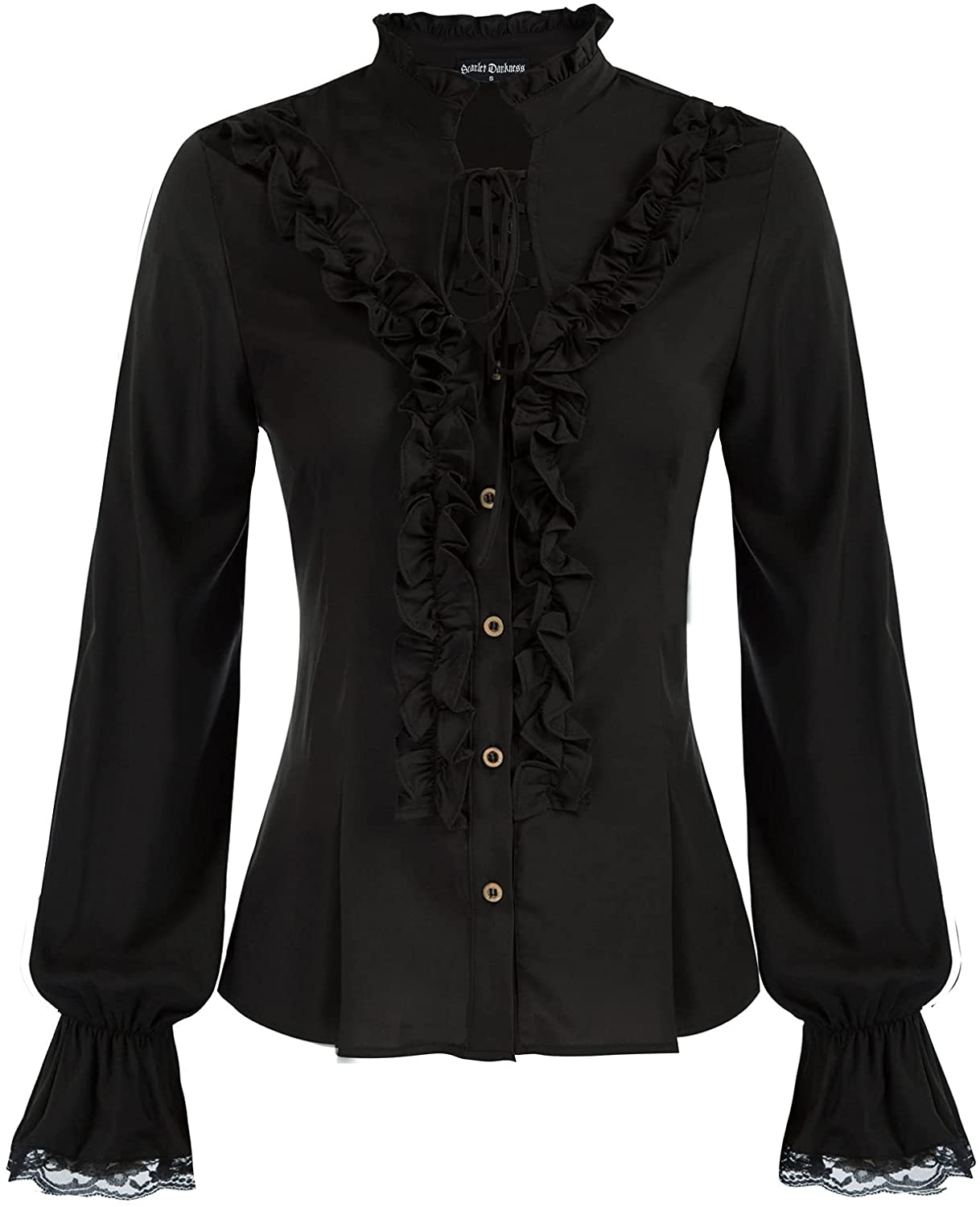 Scarlet Darkness Women Victorian Stand-up Collar Tops Ruffled Long Sleeves Shirt
