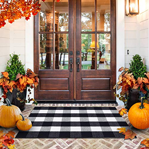 """All Prime Buffalo Plaid Rug - Extra Large 28"""" x 44"""" Pure Black and White Rug for Indoor & Outdoor - Buffalo Check Rug for Kitchen, Bathroom, Porch Decor- Buffalo Plaid Front Door Mat with Laundry Bag"""