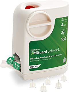 """UltiGuard Safe Pack Pen Needles and Sharps Container Micro 4mm (5/32"""") 32G 100ct"""