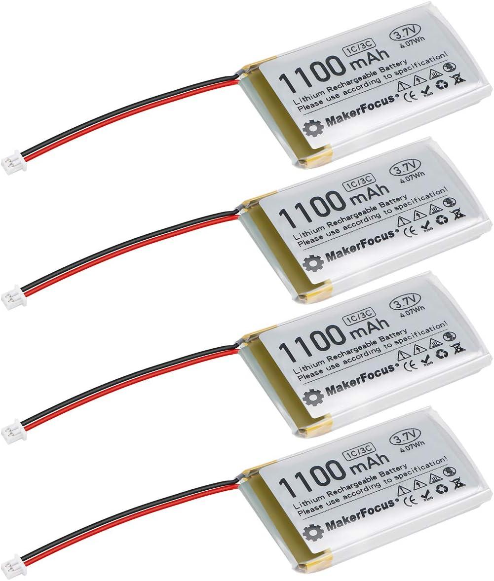 3.7V 1100mAh Batería Recargable de Litio 1S 3C Batería de lipo con Placa de protección, Cinta de Goma aislada y Conector Micro JST 1.25 para Placa de Desarrollo Arduino Nodemcu ESP32 (4 Piezas)