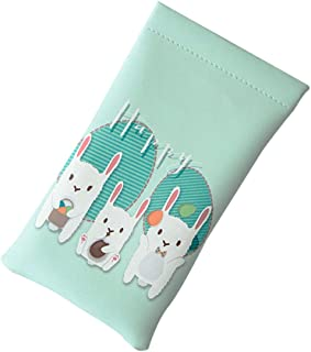 Tinksky Glasses Pouch PU Glasses Bags Pencil Case Coin Purse for Travel (Three Rabbits Pattern)