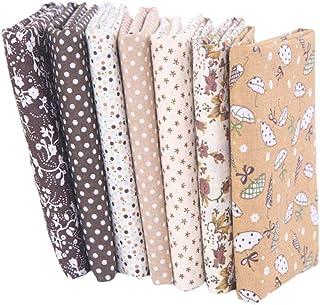 Fugift 7 piezas de tela de algodón con estampado floral pequeño para costura de patchwork, diseño no repetido, flores impr...