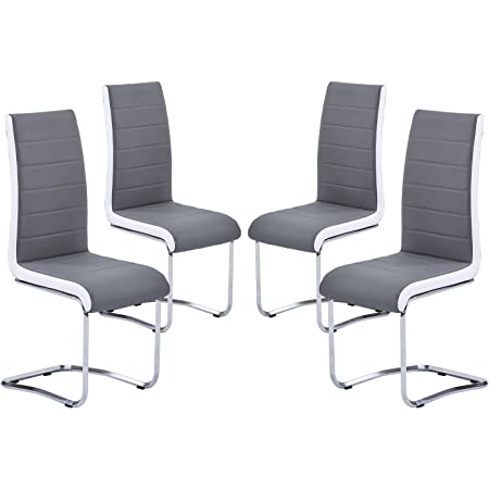 Amazon Com Wexford Upholstered Dining Chairs Black And Chrome Set Of 4 Furniture Decor