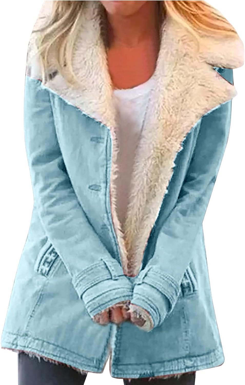 Women's Long Sleeve Jacket Coat Solid Fuzzy Fleece Lapel Button Outwear Coat Warm Winter Jackets with Pockets