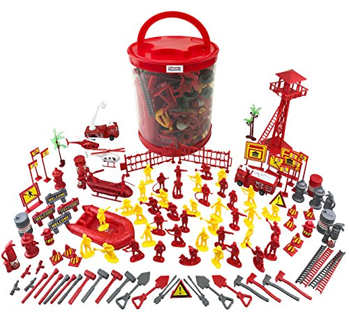 Liberty Imports Firefighter Action Figures - Big Firemen Bucket Kids Toy Plastic Figurines with Vehicles and Accessories Playset (125+ Pieces)