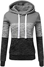 VESKRE Women's Patchwork Top Winter Casual Sweatshirt Hooded Blouse Pullover